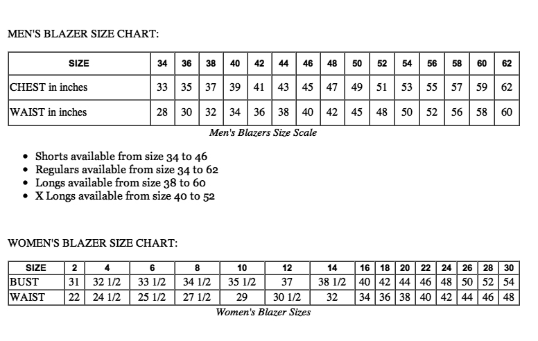 women's blazer size chart